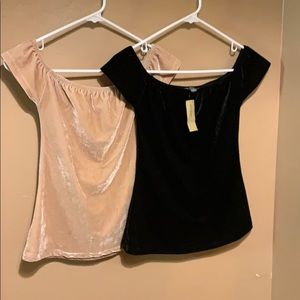 NWT Velvet off shoulder top. Blush pink and black.